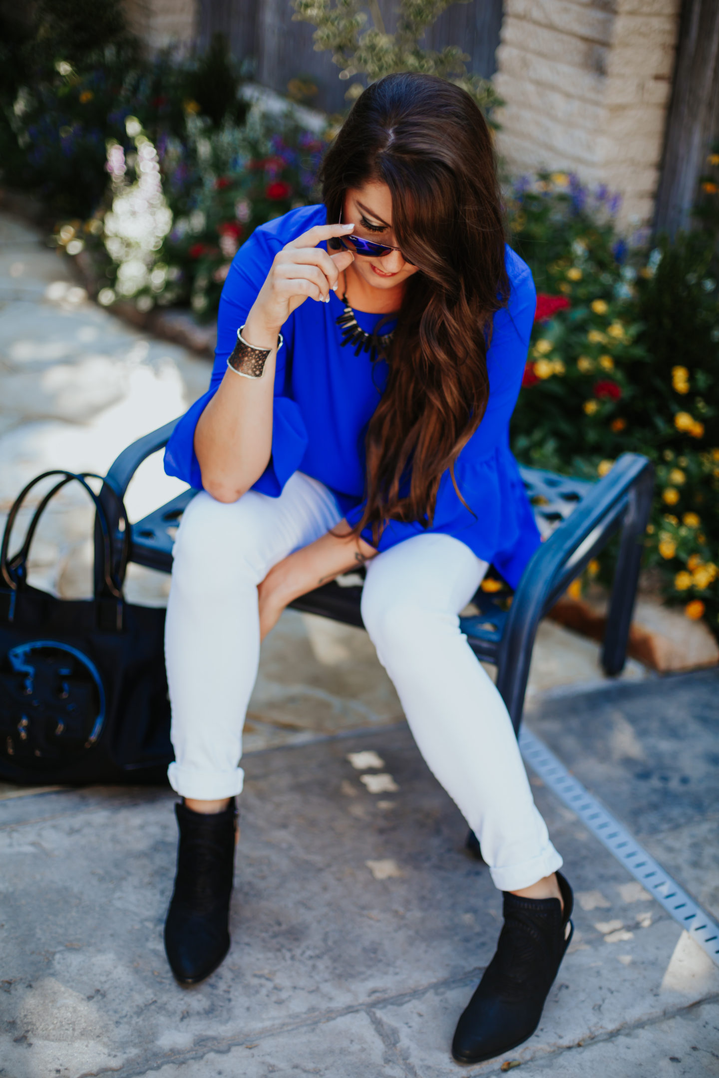 Instagram Post! Standout bright blue ruffle top!
