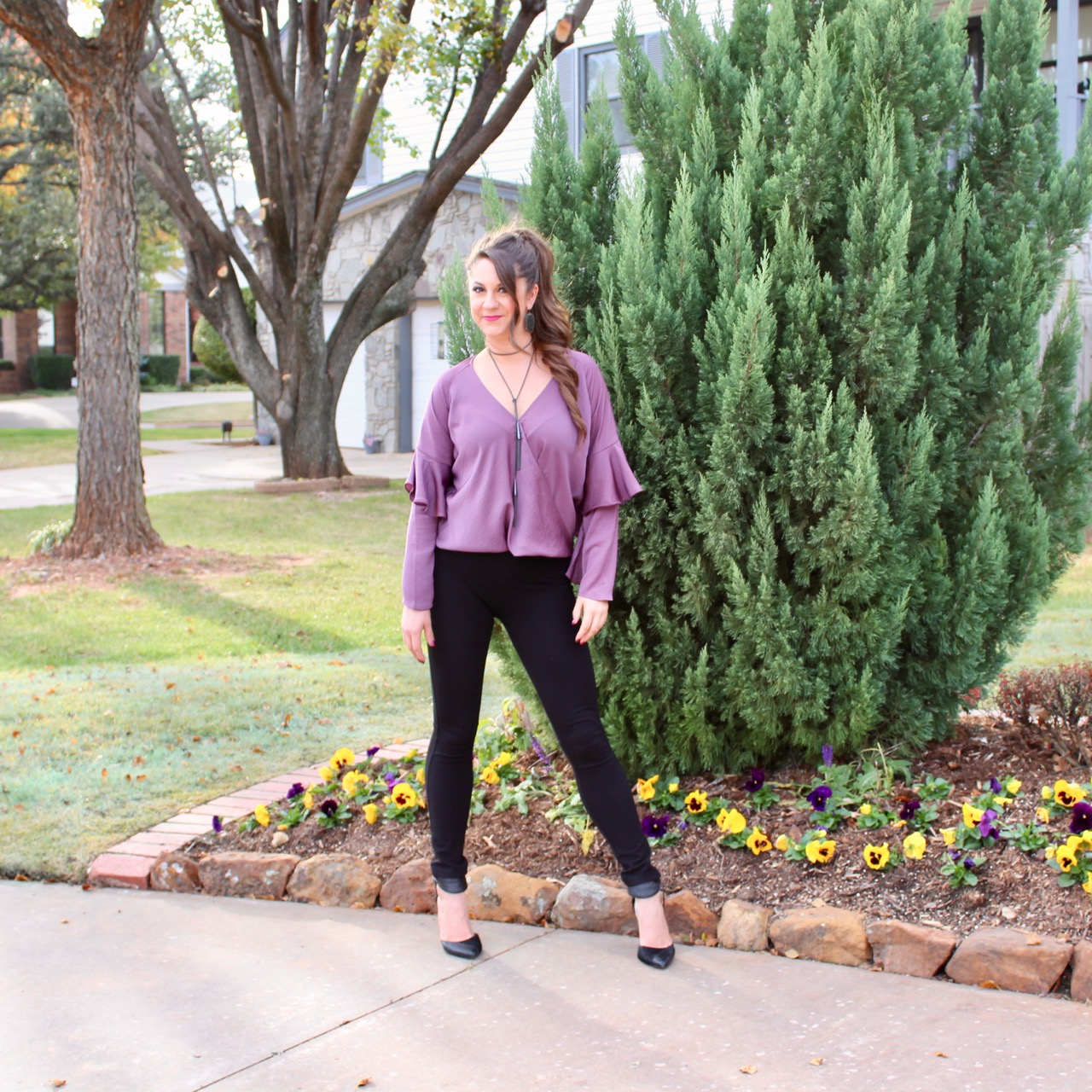 Daily Instagram Post: Everyone needs a little purple in their life! My daughter Haley is wearing this darling ruffle top perfect for holiday get togethers!