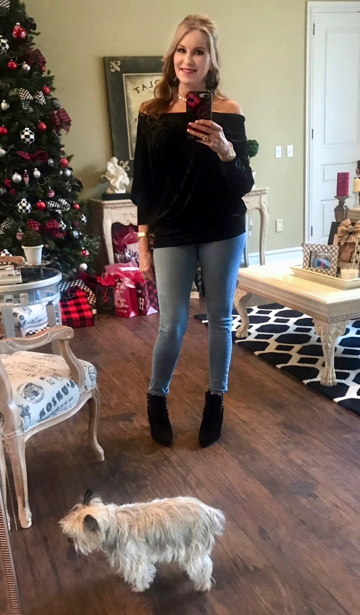 Daily Instagram Post: Black Velvet off the shoulder top and booties