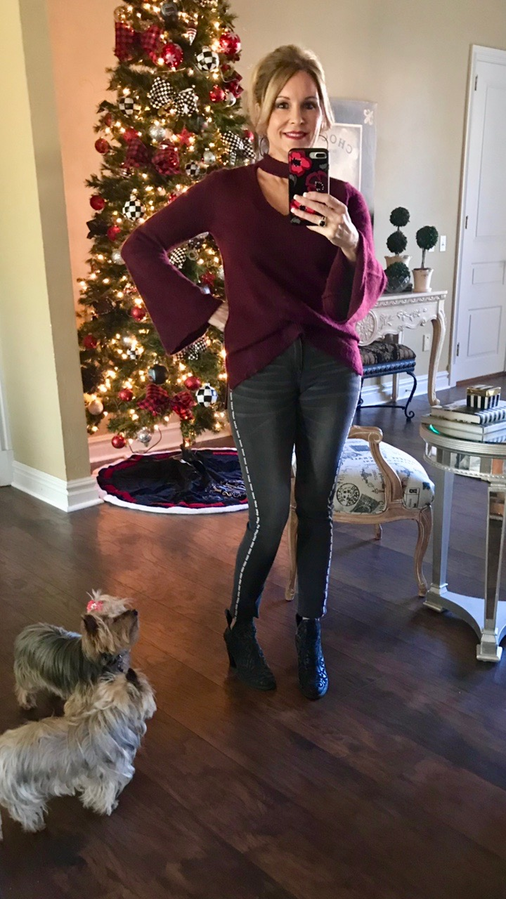 Daily Instagram Post: Wine sweater and embellished gray jean