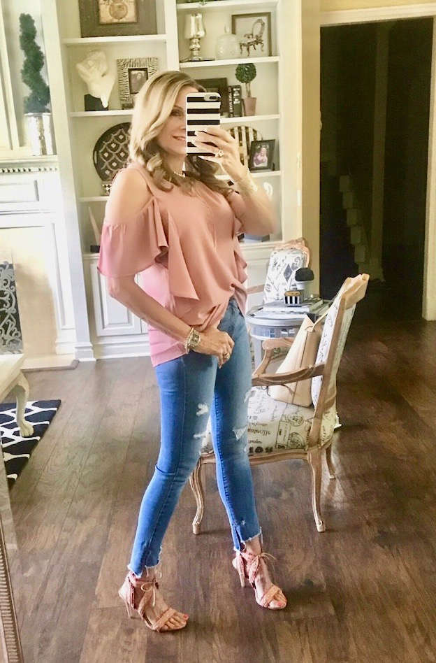 Instagram Post: Pink cold shoulder top on sale for $29.40 was $49!