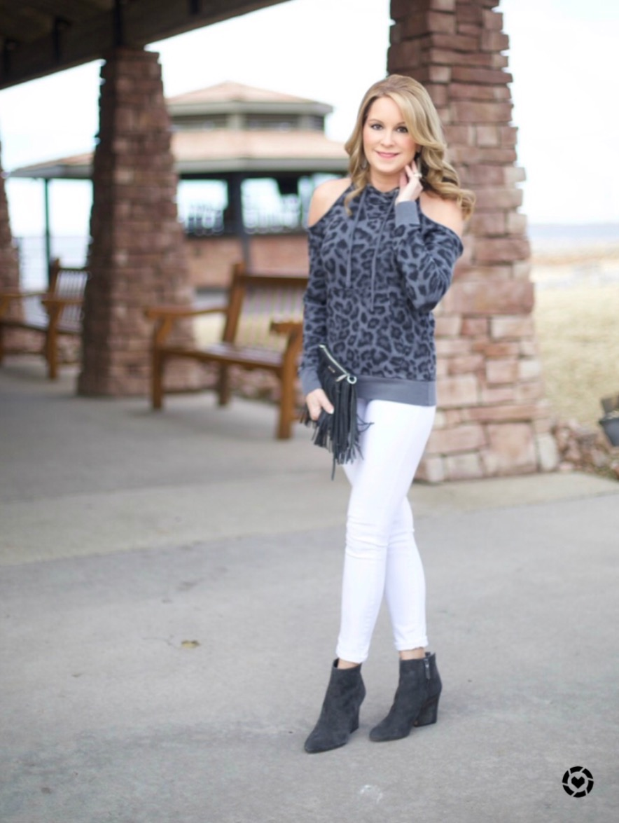 Instagram Post: gray leopard cold shoulder sweatshirt