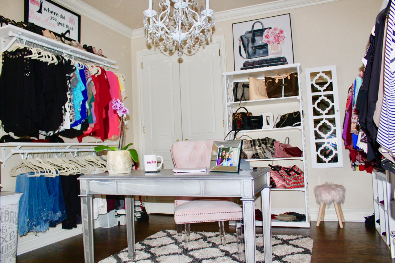 Instagram Post: Bedroom converted to glamorous closet/home office